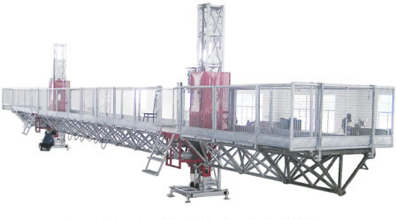 Construction Aerial Mast Climbing Work Platform / Twin Mast Climbing Equipment For Building Cleaning