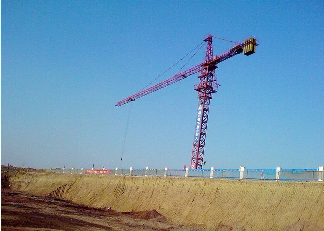52m Height Under Hook 7034 stationary attached Tower Crane Luffing Crane with 52.5m Boom